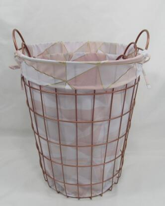 metal laundry basket,metal storage basket with liner