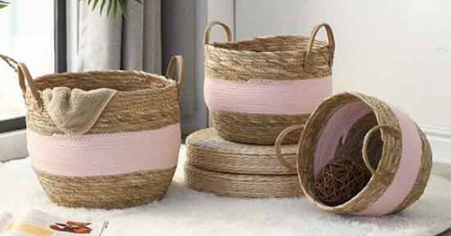 storage basket,gift basket,laundry basket,made with maize and cotton rope