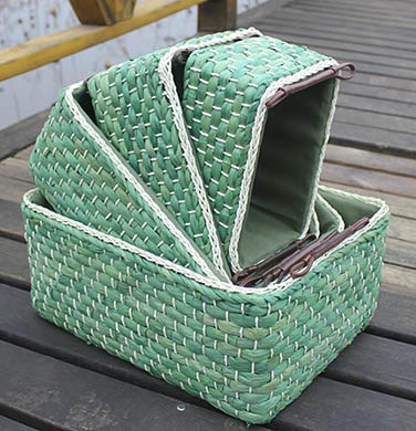 storage basket,gift basket,made of maize,set of 4