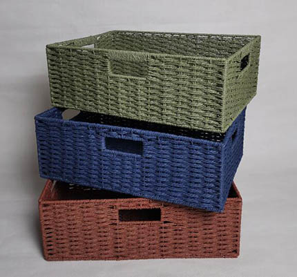 storage basket,gift basket,3 handles,made of paper rope with metal frame
