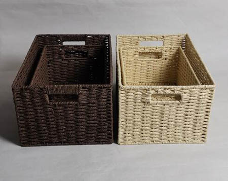 storage basket,gift basket,2 handles, made of paper rope with metal frame,S/2