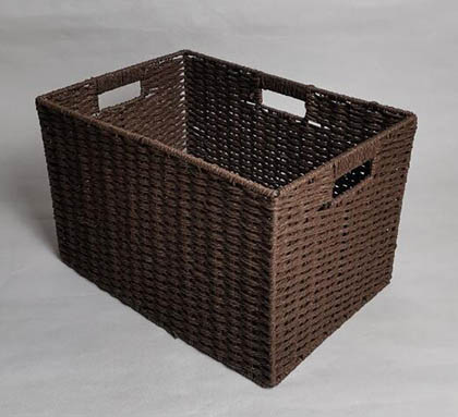storage basket,laundry basket,3 handles,made of paper rope with metal frame