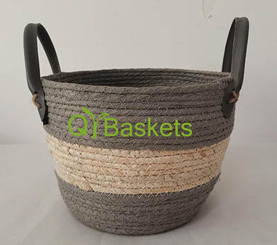 storage basket,gift basket,made of paper rope and maize,PU handle