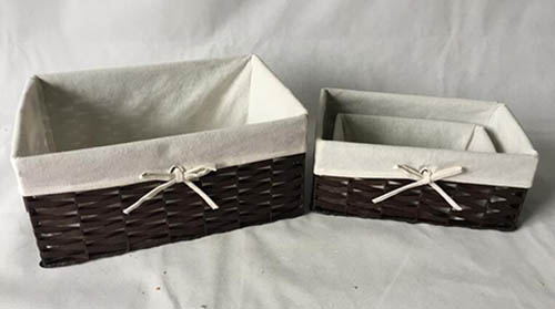 storage basket,gift basket,made of paper rope with fabric liner