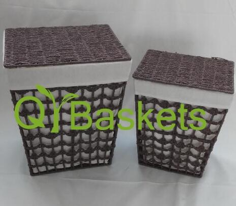 laundry basket with lid,storage basket,made of paper rope with metal frame