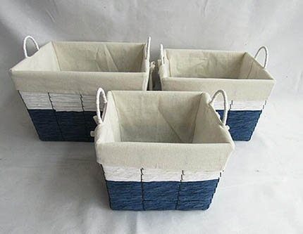 storage basket,gift basket,made of paper rope with liner