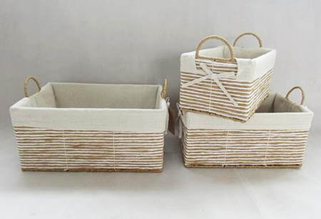 storage basket,gift basket,made of paper rope with metal frame,S/3