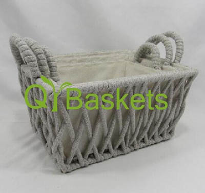 storage basket,gift basket,cotton rope basket with fabric liner