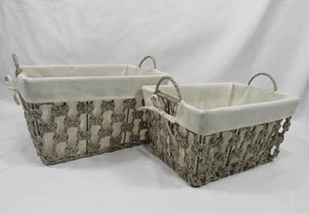 storage basket,gift basket,cotton rope basket with metal frame and fabric liner