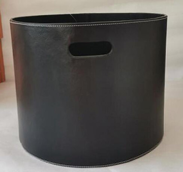 storage basket,firewood basket,made of faux leather with cardboard