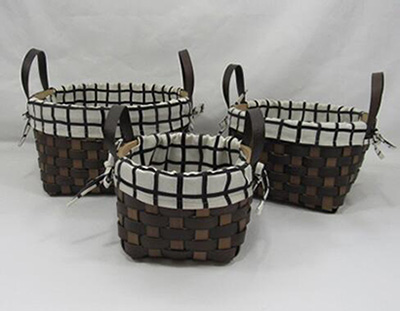 storage basket,gift basket,made of faux leather​​​​​​​ with fabric liner