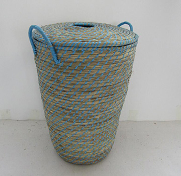 storage basket with cover,,made of sea grass