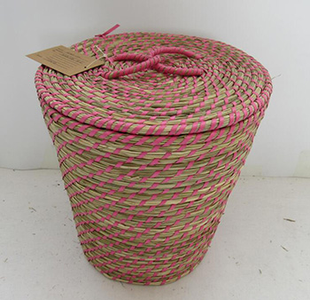 storage basket with lid,fruit basket,made of sea grass