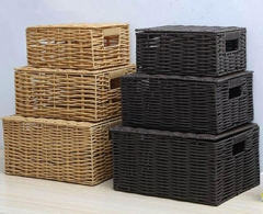 storage basket with lid,laundry basket,PE rattan basket with metal frame,S/3