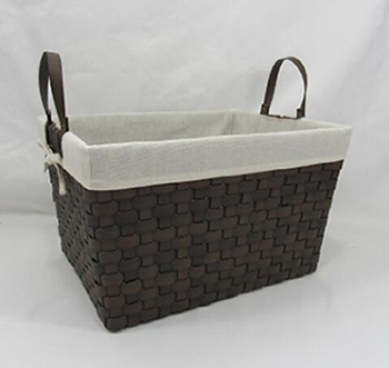 storage basket,laundry basket,gift basket,made of faux leather with fabric liner