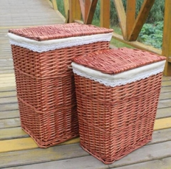 wicker laundry basket with cover,wicker storage basket,set of 2