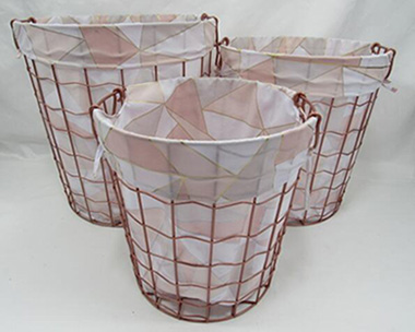 metal laundry basket,wired basket with fabric liner