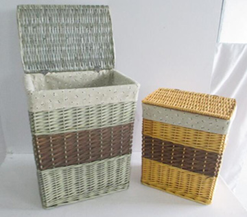 wicker laundry basket,wicker storage basket with fabric liner,S/2