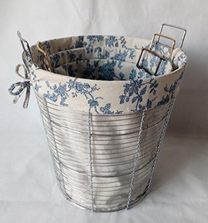 wired laundry basket,with fabric liner,S/3