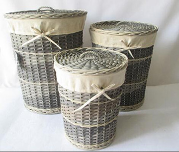 wicker storage basket,wicker laundry basket,S/3