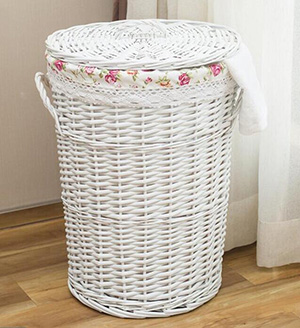 wicker laundry basket with cover,wicker storage basket with fabric liner