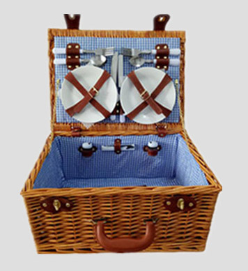willow picnic basket set,picnic hamper,service for 2