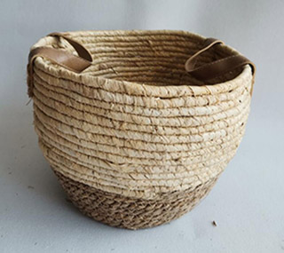 storage basket,gift basket,made of maize and rush
